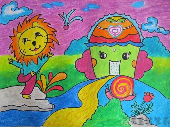 关爱野生动物儿童绘画图片4