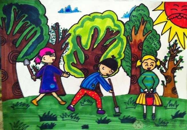 关于植树节的幼儿绘画作品