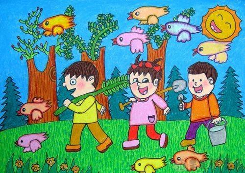 关于植树节的幼儿绘画作品1