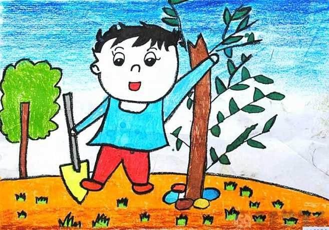 关于植树节的幼儿绘画作品2