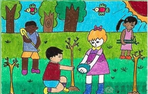 关于植树节的幼儿绘画作品3
