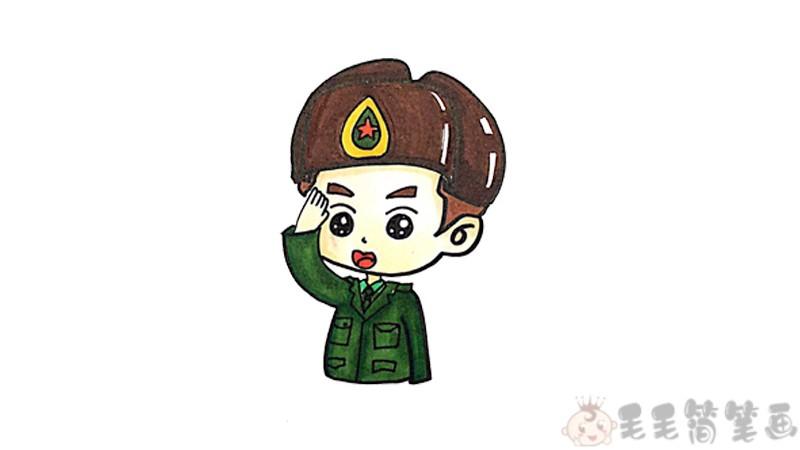 军人简笔画,军人儿童画