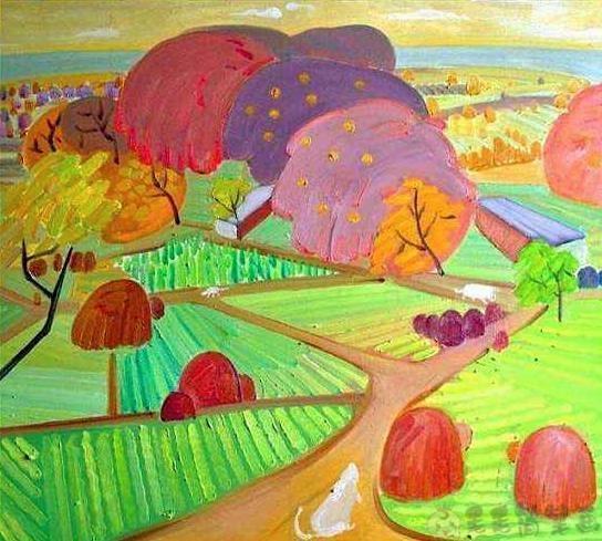 丰收的秋天少儿美术画作品