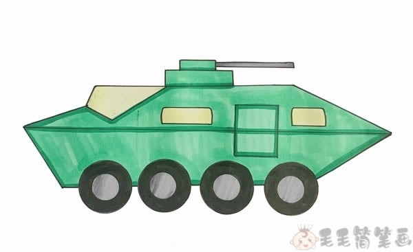 装甲车简笔画画法