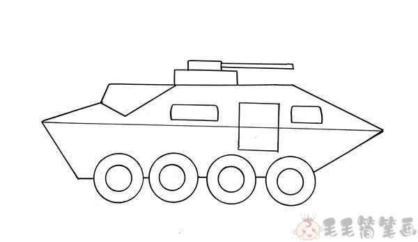 装甲车简笔画画法3