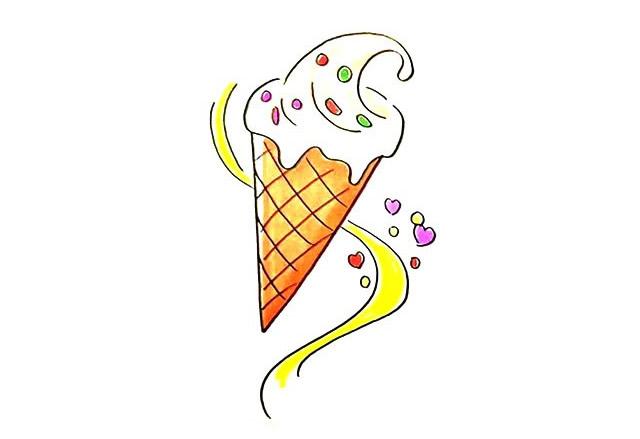 冰激凌怎么画 奶油甜筒冰激凌简笔画教程步骤图片大全 中级简笔画教程-第1张