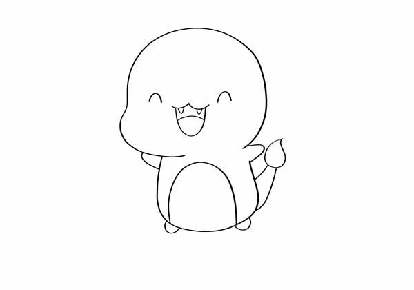 可爱喷火龙简笔画图片 小火龙怎么画 一步一步 中级简笔画教程-第3张