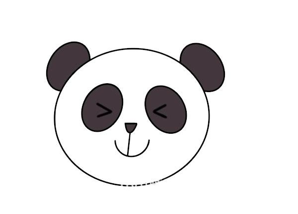 大熊猫头像简笔画 中级简笔画教程-第1张
