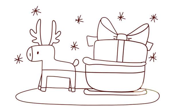 圣诞麋鹿车简笔画画法 动物-第6张