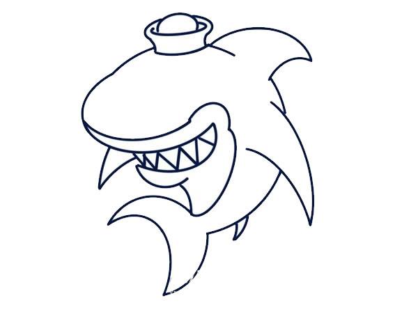 q版鲨鱼简笔画画法教程 中级简笔画教程-第6张