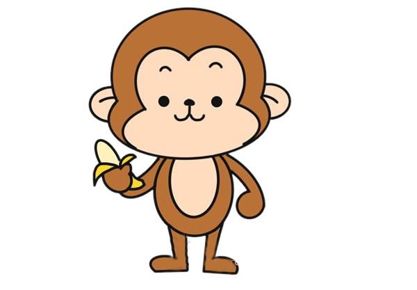 吃香蕉的猴子简笔画图片大全 动物-第1张