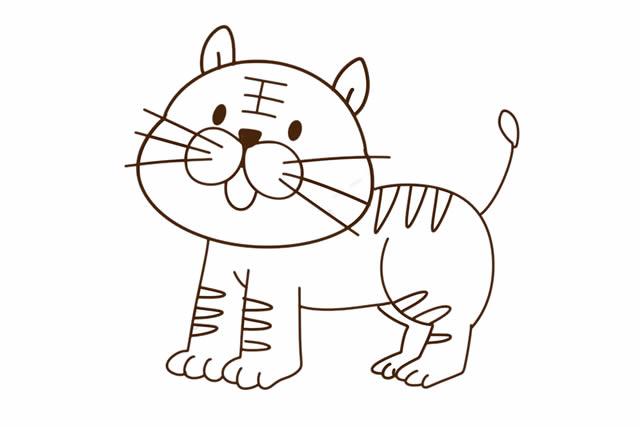 简单易学的小老虎儿童简笔画 中级简笔画教程-第1张