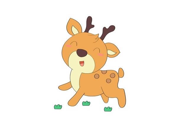 小鹿简笔画彩色 可爱小鹿简笔画步骤图片教程 中级简笔画教程-第1张