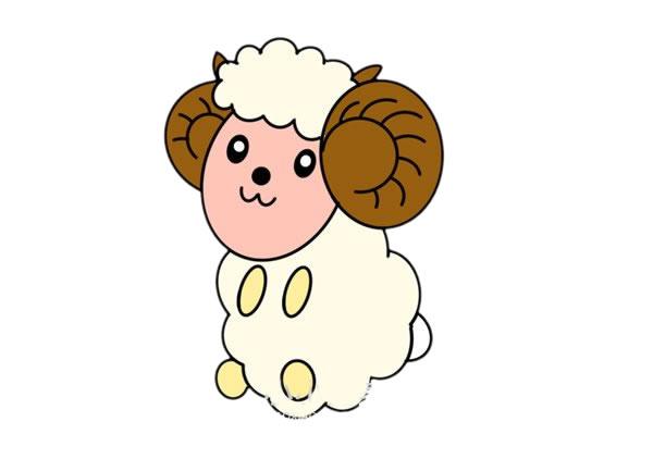 卡通彩色绵羊简笔画绘画教程 初级简笔画教程-第1张