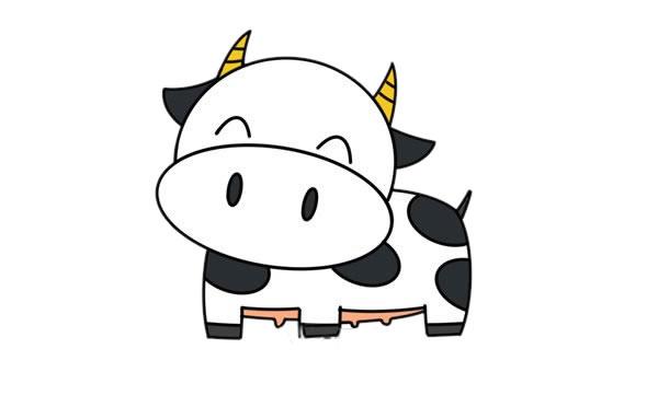 卡通奶牛简笔画 奶牛简笔画步骤图片教程 中级简笔画教程-第1张