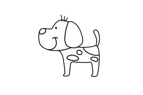 一步一步学画小狗简笔画 初级简笔画教程-第1张
