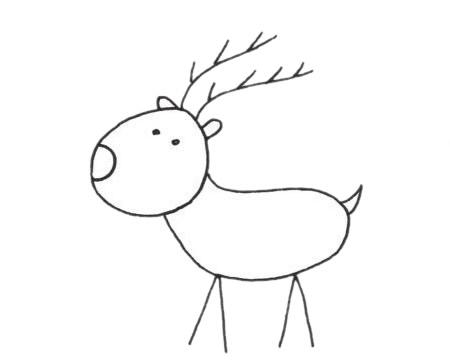 梅花鹿儿童简笔画线稿图片 中级简笔画教程-第10张