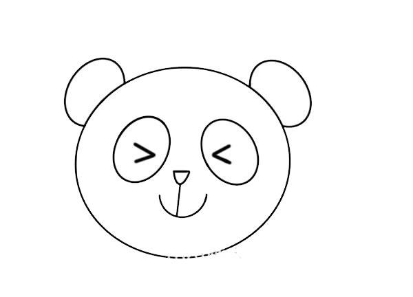 大熊猫头像简笔画 中级简笔画教程-第4张