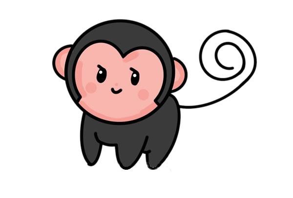 小猴子怎么画_超萌小猴子简笔画画法步骤步骤图片 动物-第1张
