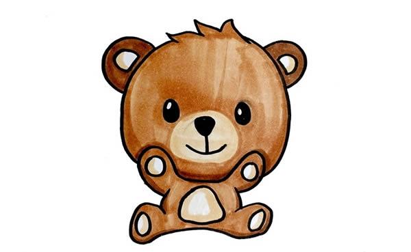 可爱的小熊简笔画彩色画法 中级简笔画教程-第1张