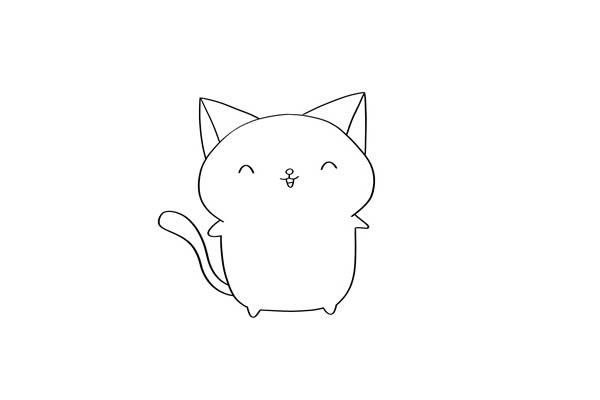 卡通猫咪简笔画步骤图解 中级简笔画教程-第3张