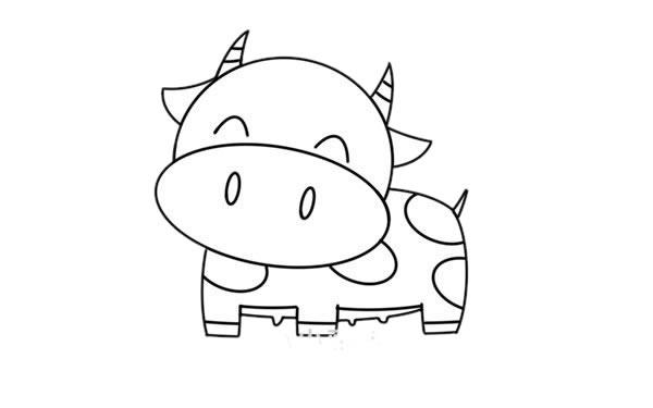 卡通奶牛简笔画 奶牛简笔画步骤图片教程 中级简笔画教程-第5张
