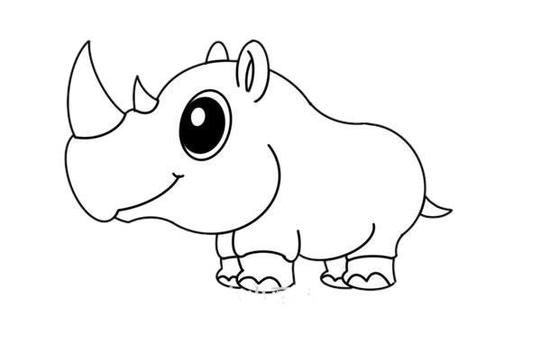 犀牛简笔画彩色画法教程 初级简笔画教程-第6张