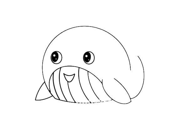 鲸鱼怎么画简朴又可爱 鲸鱼简笔画步骤图解教程 中级简笔画教程-第4张