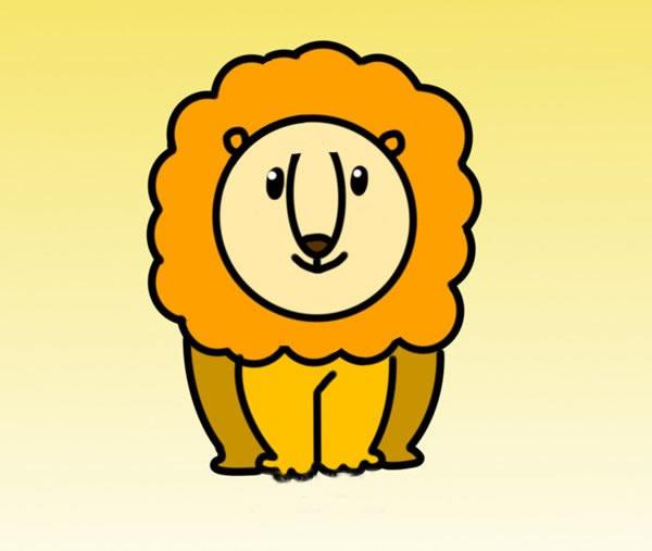 可爱雄狮简笔画彩色画法 中级简笔画教程-第1张