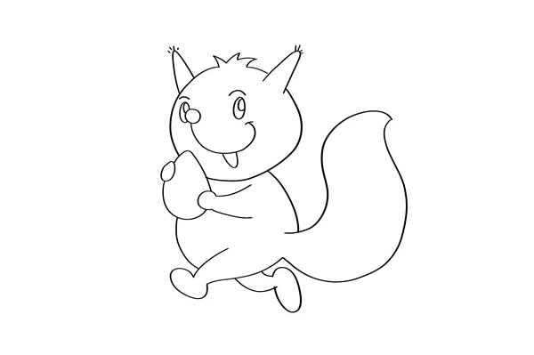 小松鼠怎么画j简单又可爱 卡通松鼠简笔画教程 中级简笔画教程-第4张