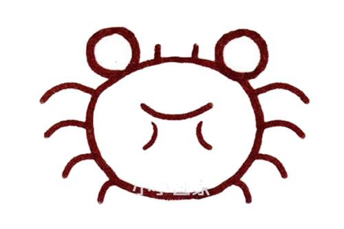 彩色螃蟹儿童简笔画画法 初级简笔画教程-第4张
