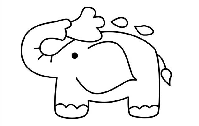 在沐浴的可爱小象简笔画图片 中级简笔画教程-第1张