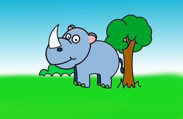 儿童画犀牛简笔画,犀牛的简单画法 中级简笔画教程-第1张