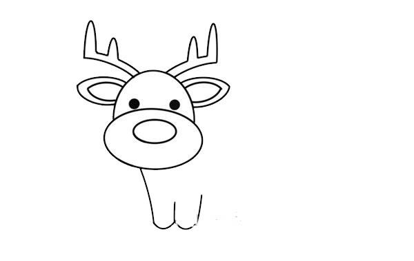 驯鹿怎么画简朴又悦目 驯鹿简笔画步骤画法教程 中级简笔画教程-第4张