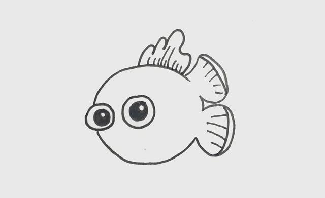 小丑鱼简笔画彩色可爱步骤图片 动物-第2张