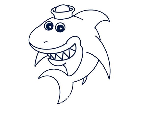 q版鲨鱼简笔画画法教程 中级简笔画教程-第7张