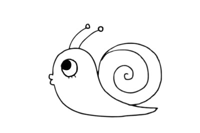 可爱蜗牛简笔画步骤图片大全 初级简笔画教程-第12张