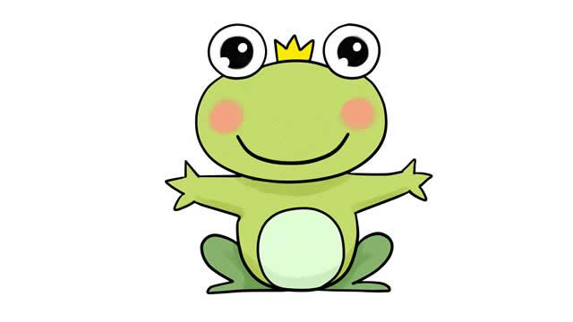 青蛙王子简笔画彩色图片 动物-第1张