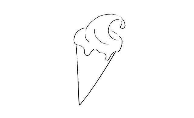 冰激凌怎么画 奶油甜筒冰激凌简笔画教程步骤图片大全 中级简笔画教程-第3张