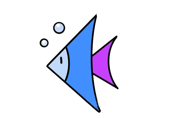热带鱼简笔画彩色画法 初级简笔画教程-第1张