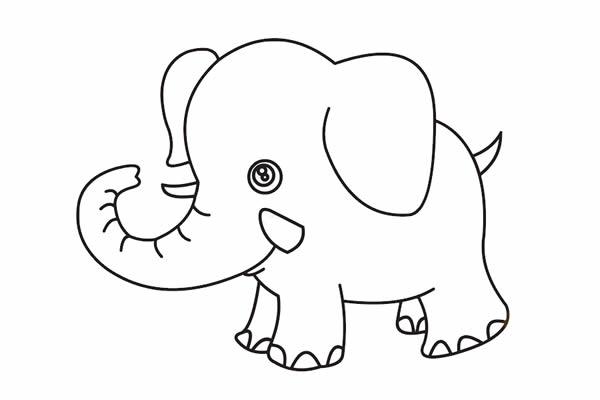 大象怎么画最简单 卡通大象简笔画步骤教程 动物-第5张