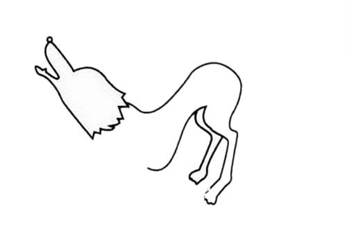 狼的简笔画 凶残 霸气 狼的超简单画法步骤 中级简笔画教程-第3张