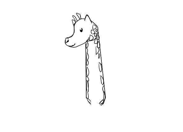长颈鹿怎么画,长颈鹿儿童简笔画 动物-第4张