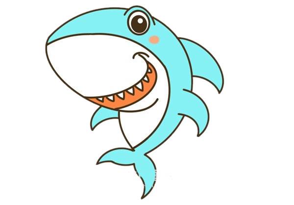 卡通鲨鱼简笔画彩色图片教程 中级简笔画教程-第1张