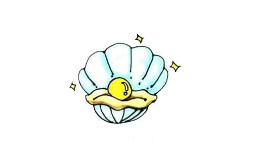 珍珠贝壳简笔画画法步骤步骤图片 动物-第1张