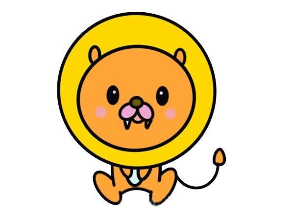 卡通狮子简笔画,可爱的狮子画法 初级简笔画教程-第1张