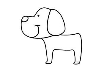 一步一步学画小狗简笔画 初级简笔画教程-第6张