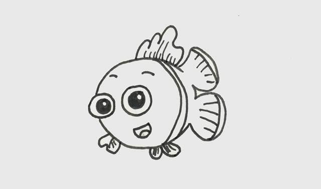 小丑鱼简笔画彩色可爱步骤图片 动物-第3张
