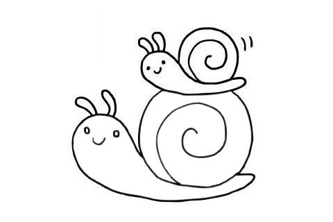 可爱蜗牛简笔画步骤图片大全 初级简笔画教程-第10张