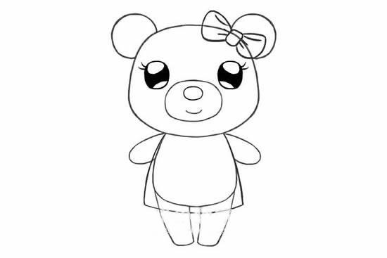 可爱的小熊姑娘简笔画画法步骤步骤图片 动物-第8张